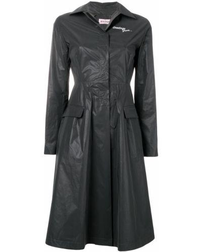 Черное пальто классическое с капюшоном с воротником Palm Angels