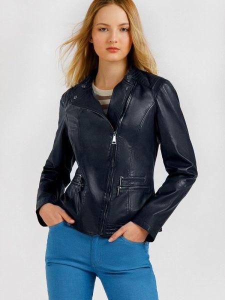 Кожаная расклешенная синяя свободная кожаная куртка Finn Flare