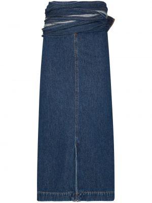 Синяя с завышенной талией юбка миди с запахом с разрезом Y/project