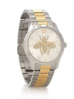 Часы на металлическом браслете Gucci