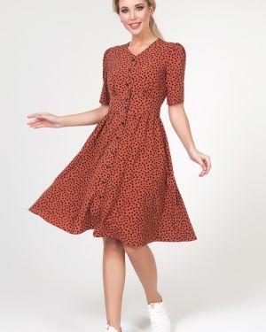 Платье с поясом в горошек на пуговицах Valentina