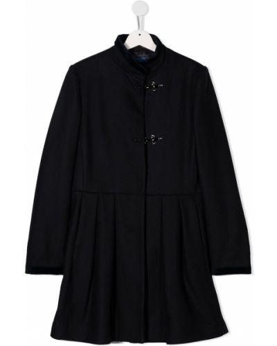 С рукавами шерстяное черное пальто с воротником Fay Kids