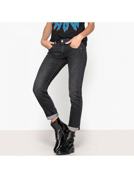 Черные джинсы бойфренды с карманами с воротником на пуговицах Reiko
