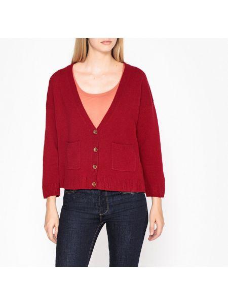 Шерстяной красный кардиган на пуговицах с карманами Harris Wilson