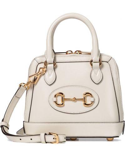 Biały skórzany torba na ramię Gucci