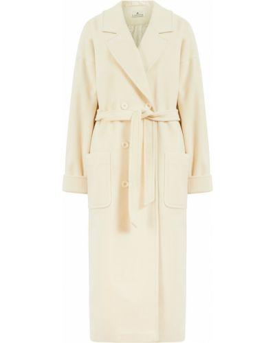Белое шерстяное пальто оверсайз Laroom
