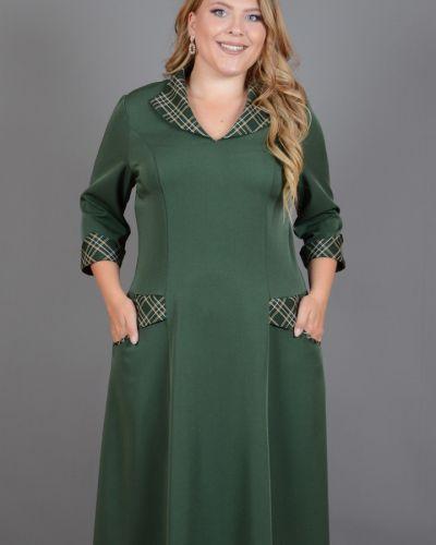 Платье с V-образным вырезом - зеленое Avigal (avrora)