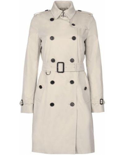 Серое пальто с поясом Burberry
