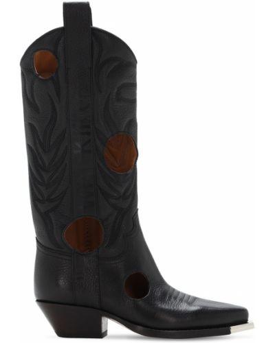 Czarny buty na pięcie na pięcie z prawdziwej skóry kaskada Off-white