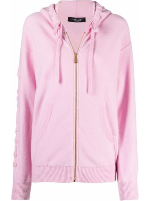 Шерстяная розовая куртка с капюшоном с длинными рукавами Versace