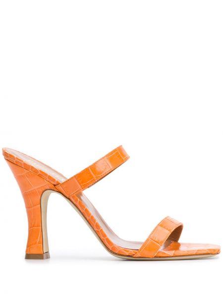 Мюли на каблуке оранжевые Paris Texas