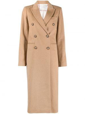 Коричневое шерстяное длинное пальто двубортное Victoria Beckham