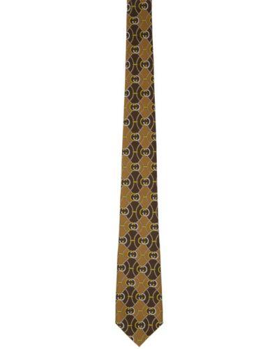 Brązowy krawat z jedwabiu Gucci