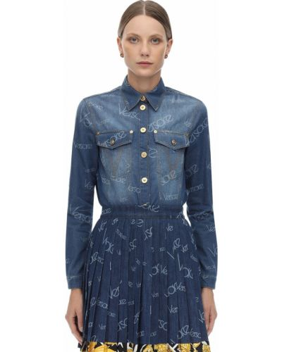 Dżinsowa koszula klasyczna z łatami Versace