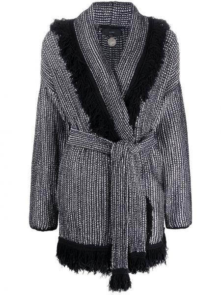 Długi płaszcz z paskiem z klapą Alanui