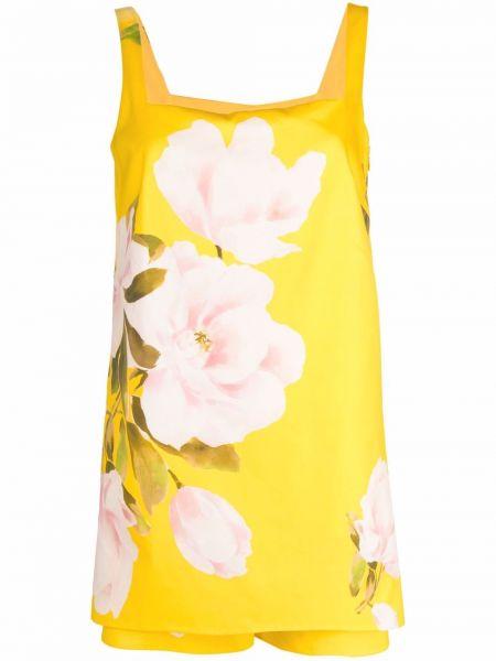Żółty kombinezon w kwiaty bawełniany Valentino