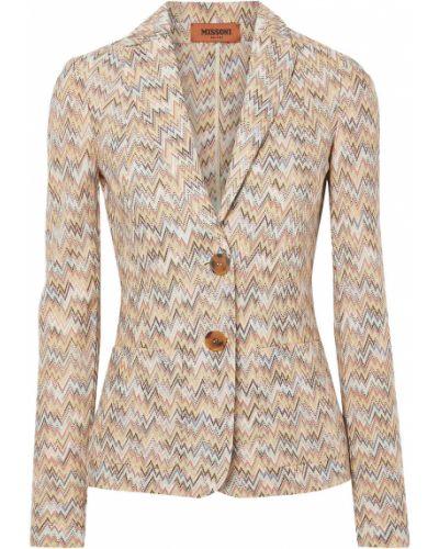 Шерстяной желтый пиджак с карманами Missoni