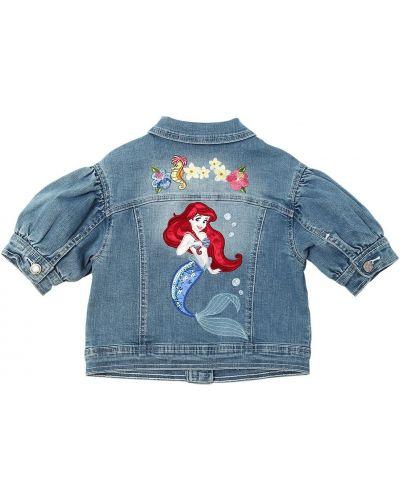 Джинсовая куртка с короткими рукавами - синяя Monnalisa