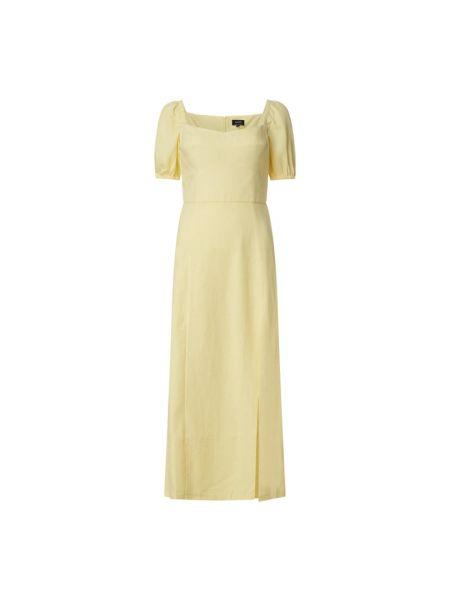 Sukienka rozkloszowana krótki rękaw - żółta Bardot