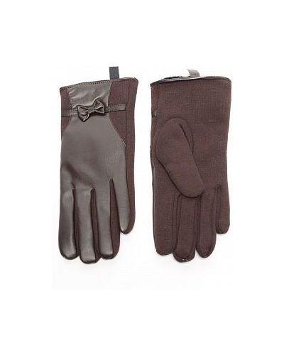 Коричневые шерстяные перчатки со вставками Sophie Ramage