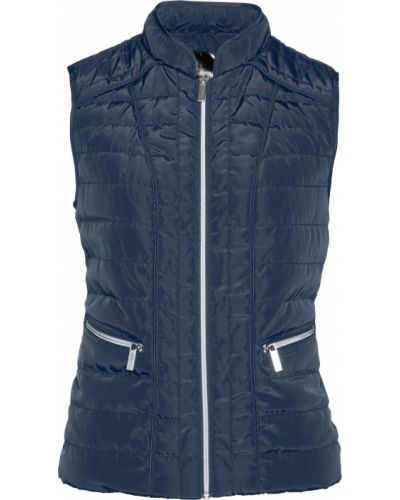 Темно-синяя стеганая жилетка на молнии с карманами с воротником Bonprix