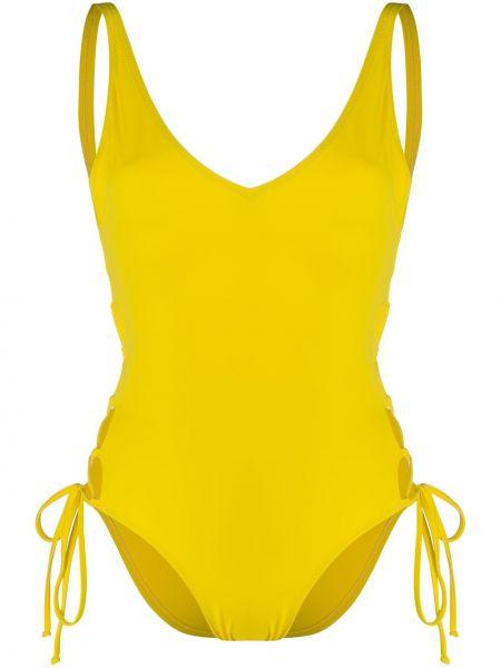 Нейлоновый желтый слитный купальник на шнуровке с вырезом Sian Swimwear