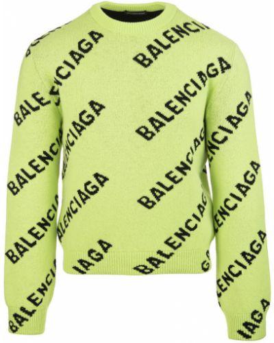 Z rękawami wełniany czarny długi sweter Balenciaga