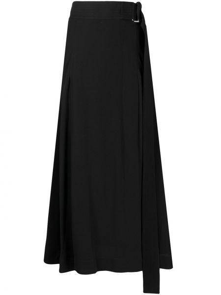 Черная с завышенной талией юбка миди с разрезом Victoria Beckham