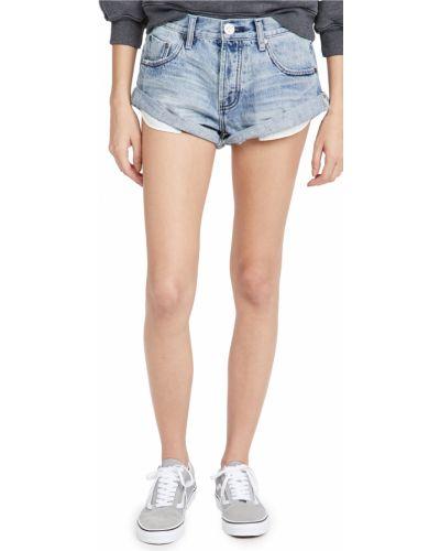 Хлопковые джинсовые шорты с карманами с манжетами One Teaspoon