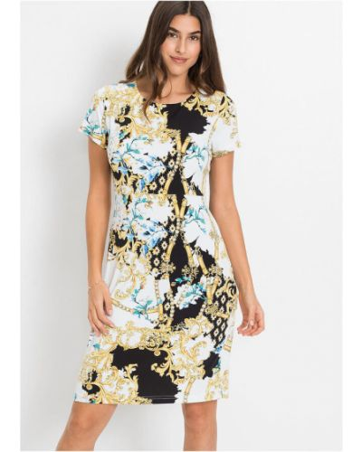 Трикотажное белое платье с короткими рукавами Bonprix