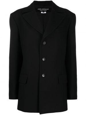 Шерстяной черный удлиненный пиджак с воротником Junya Watanabe