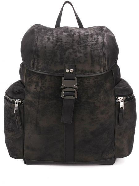 Czarny plecak skórzany klamry Giorgio Brato