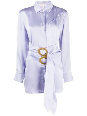 Fioletowa klasyczna koszula z długimi rękawami z paskiem Materiel