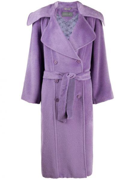 Фиолетовое шерстяное длинное пальто с воротником свободного кроя Alberta Ferretti