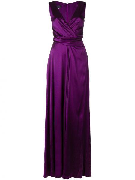Платье макси длинное сатиновое Talbot Runhof