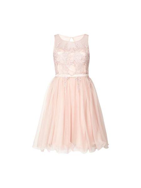 Różowa sukienka koktajlowa rozkloszowana bez rękawów V.m.