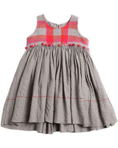 Шерстяное платье со складками с вырезом с принтом Péro