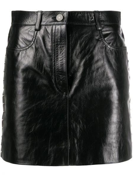 Skórzany czarny z wysokim stanem spódnica mini z paskiem Givenchy