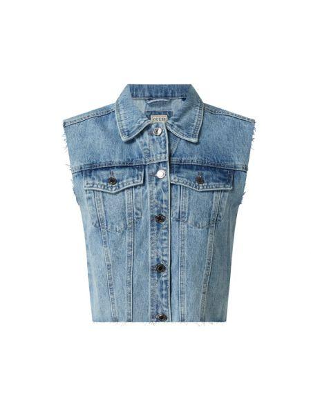 Niebieska kamizelka jeansowa bawełniana Guess