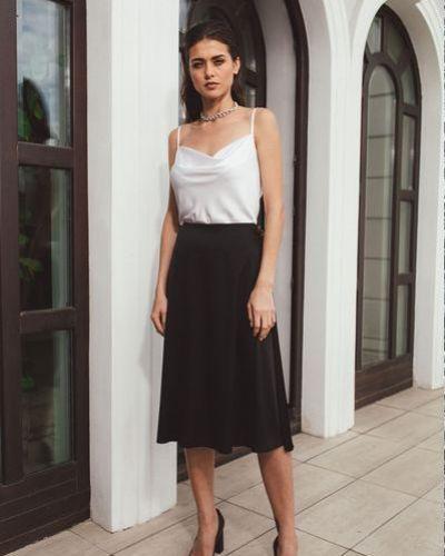 Шелковая черная юбка трапеция Vovk