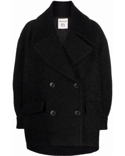 Черное шерстяное пальто Semicouture