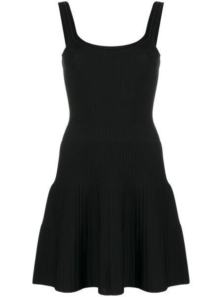 Черное нейлоновое расклешенное платье мини без рукавов Theory