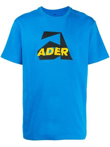Bawełna niebieski koszula z krótkim rękawem z haftem krótkie rękawy Ader Error