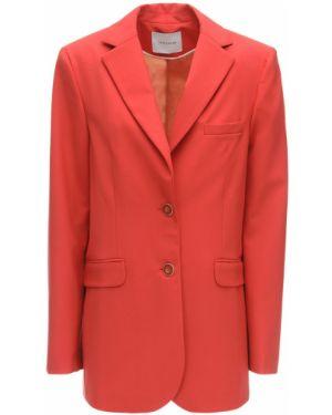 Шерстяной коралловый пиджак с карманами с лацканами Lesyanebo
