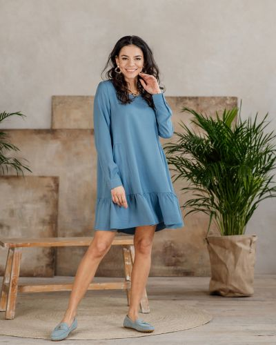 Платье с оборками - голубое Azuri