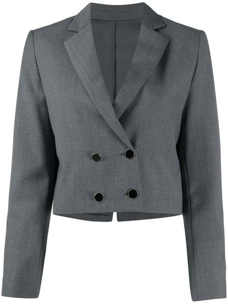 Шерстяной серый удлиненный пиджак двубортный L'autre Chose