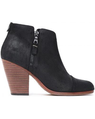 Czarne ankle boots zamszowe na obcasie Rag & Bone