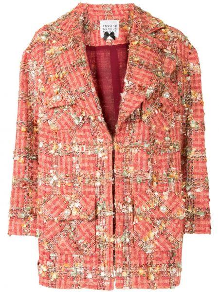 Шерстяной красный удлиненный пиджак в клетку Edward Achour Paris