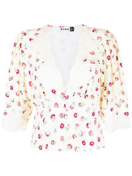 Biała bluzka z dekoltem w serek Rixo