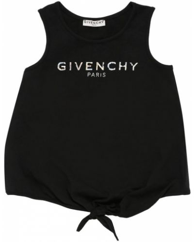 Czarny top bawełniany z printem Givenchy